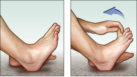 Toe stretch for the bottom of the foot Plantar fasciitis exercises