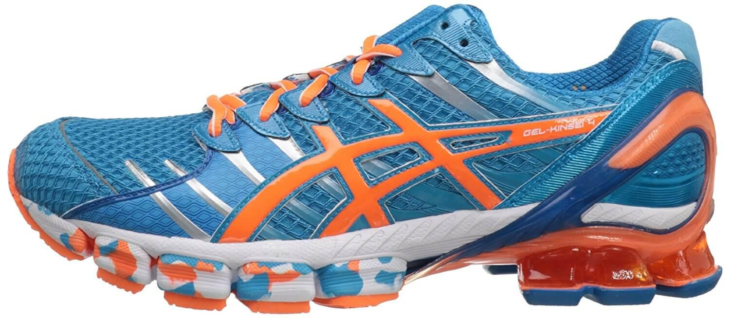 the ASICS Gel Kinsei 4 is a colorful stability shoe that will appeal to runners who like their trainers to have a high amount of visibility