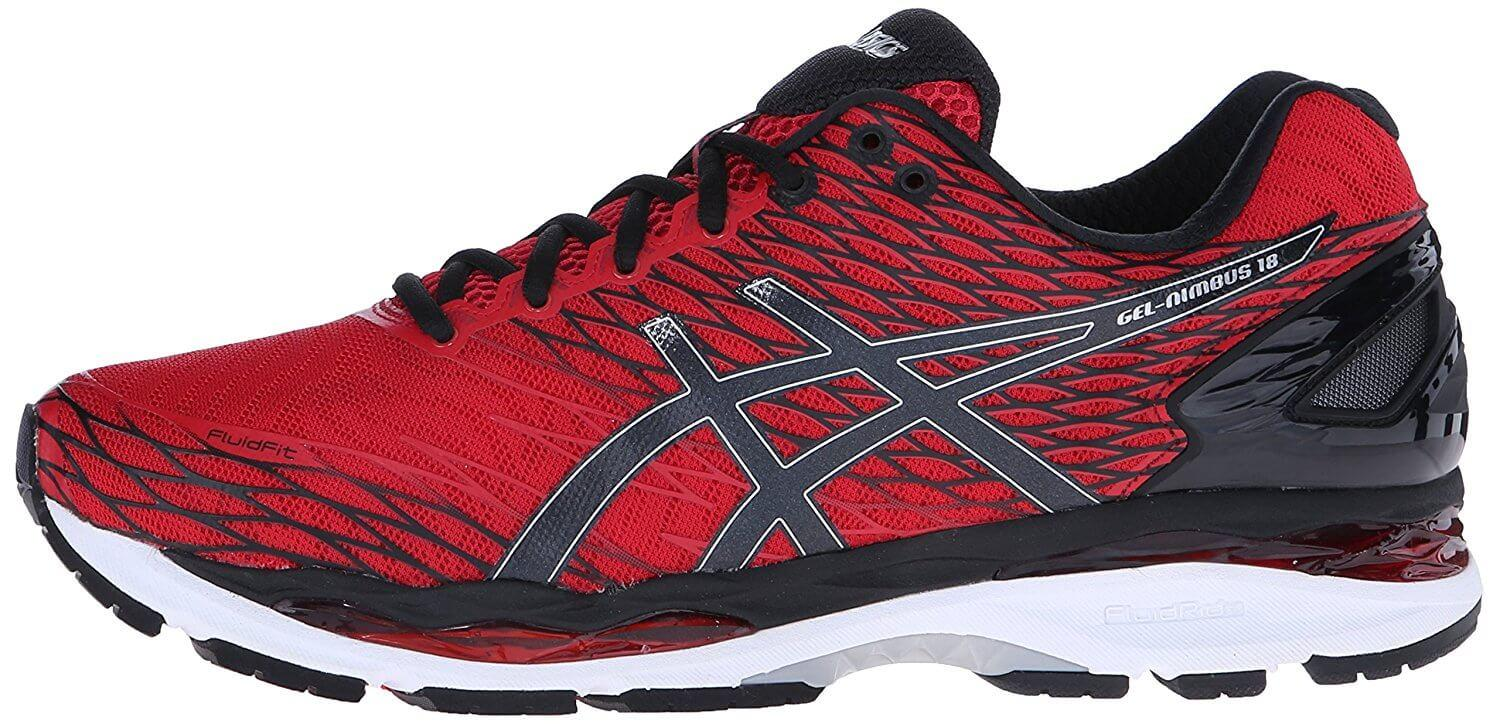 The manufacturer's logo blends in beautifully with the design of the Asics Gel Nimbus 18.