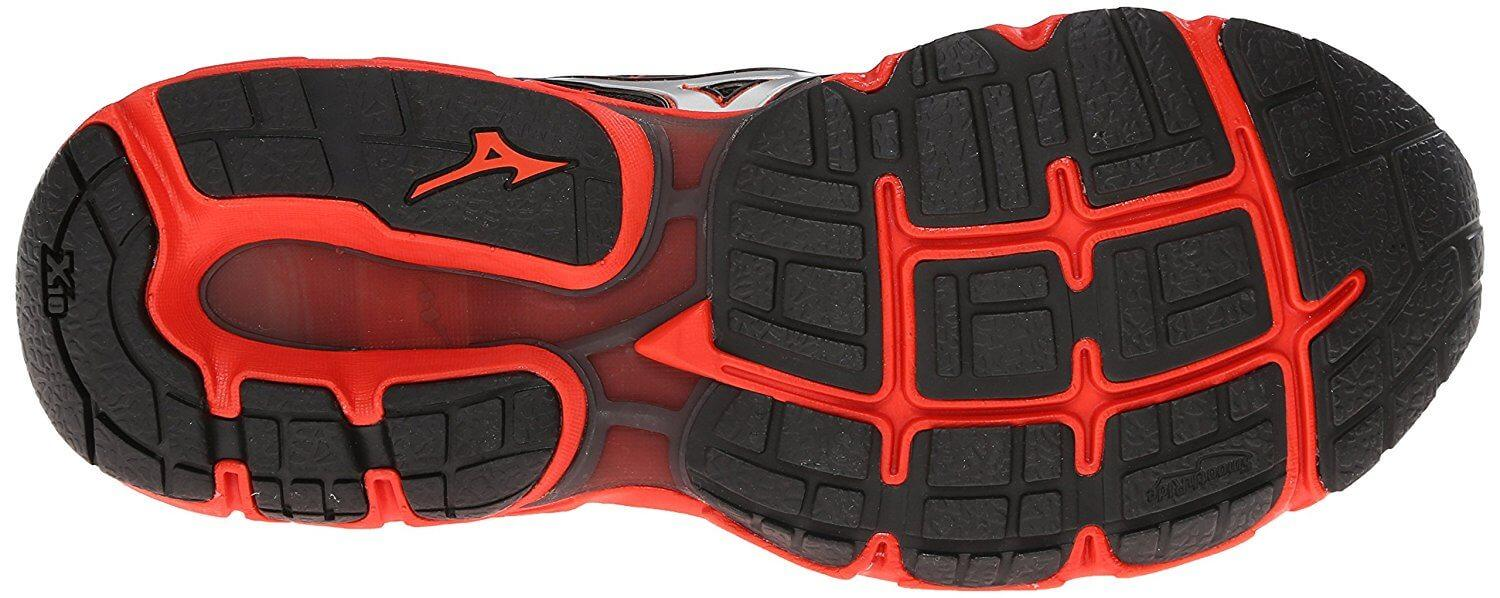 The Mizuno Wave Inspire 11's outsoles are made from X10 carbon rubber.
