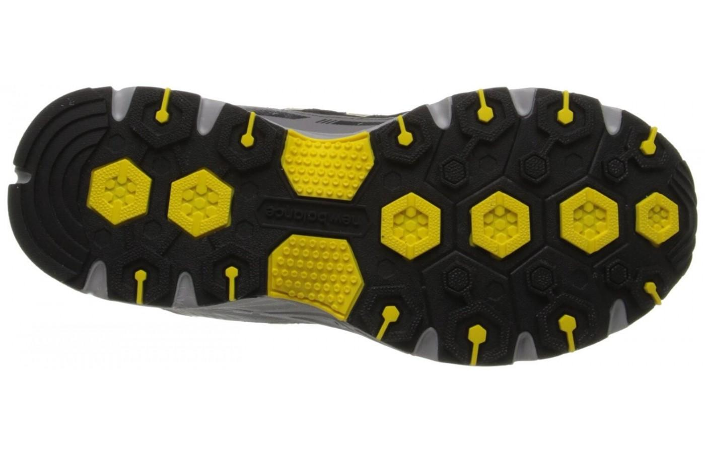 The outsoles of the New Balance MT510 are geared toward roads and trails.