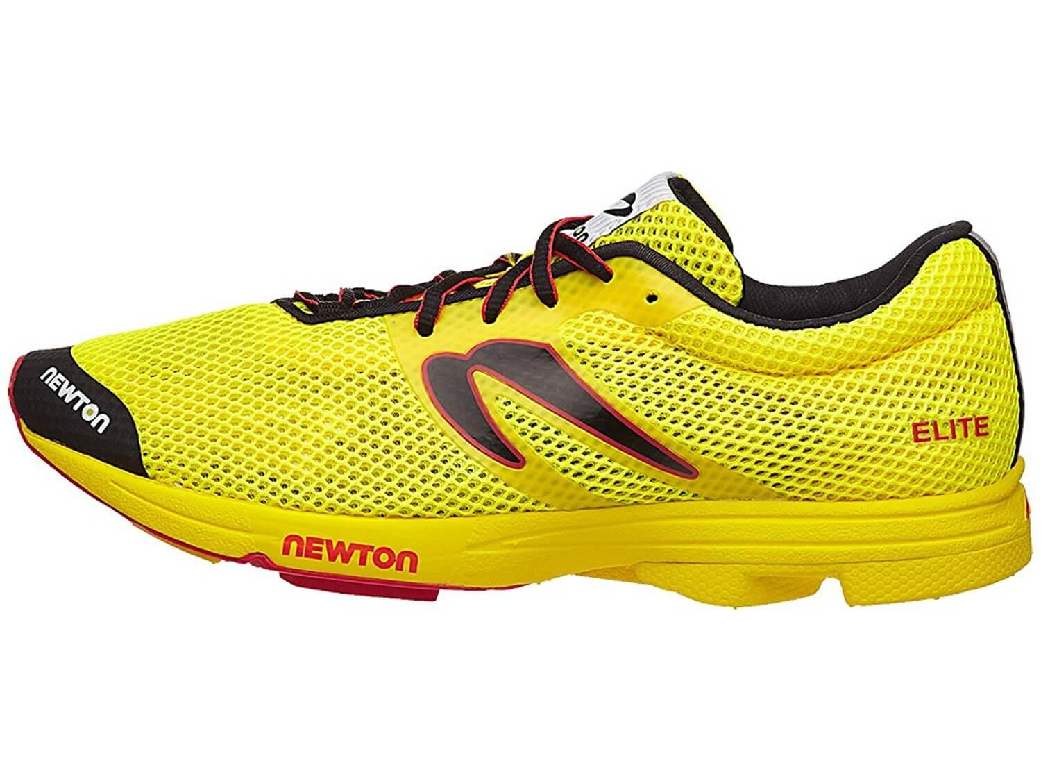 the Newton Distance Elite is a sleek, lightweight, minimalist running shoe that helps runners obtain their racing goals