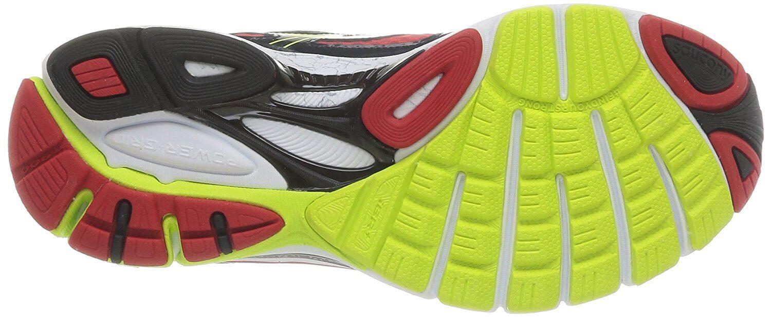 The fan design of the Saucony Guide 7's outsole provides coverage for key areas of the underfoot.