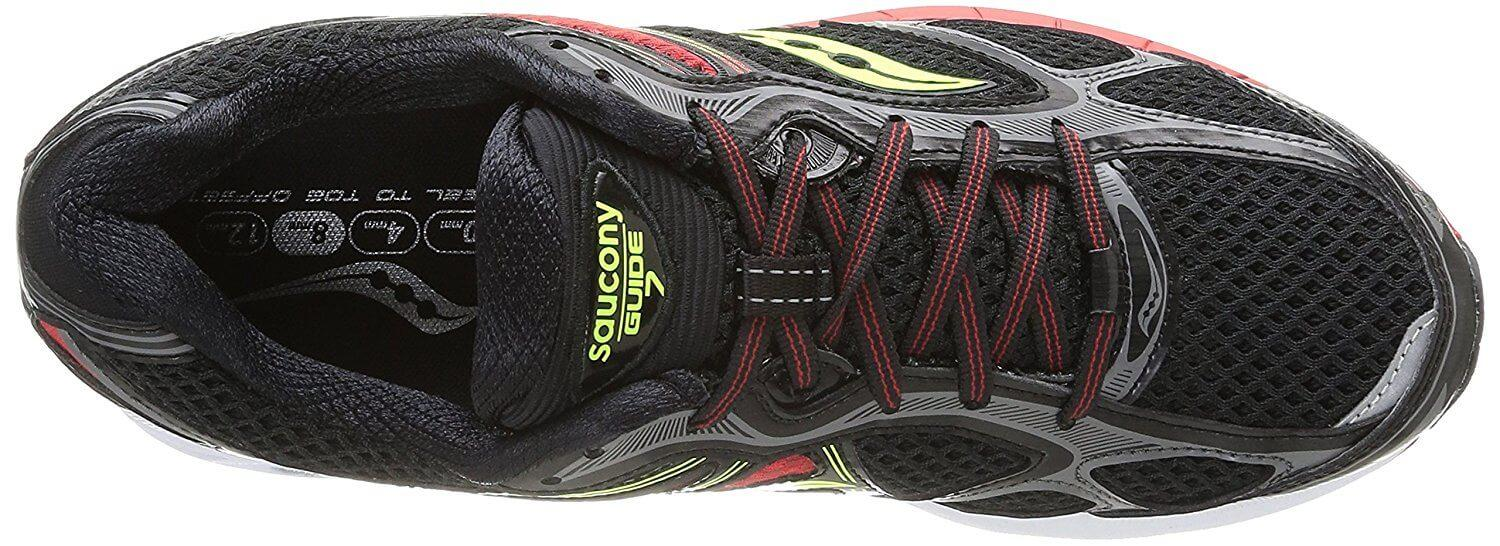 A wider toebox in the Saucony Guide 7's upper provides more comfort for the forefoot.