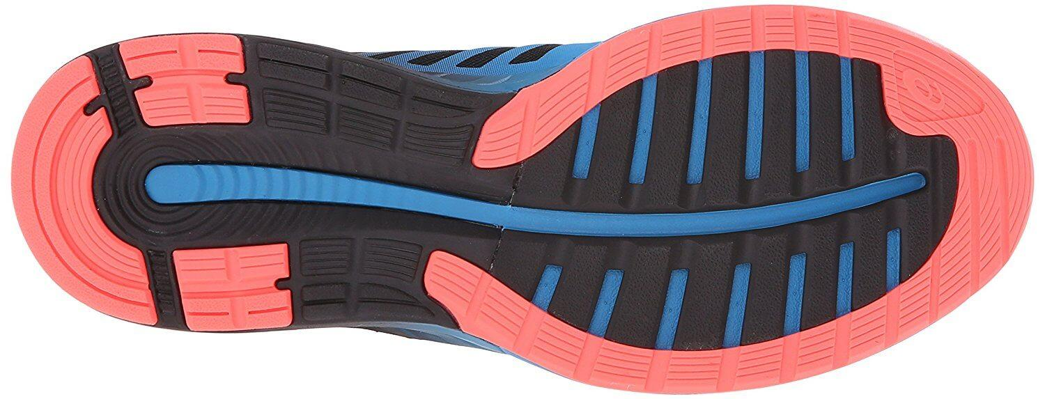 The Asics FuzeX outsole uses high-abrasion rubber.