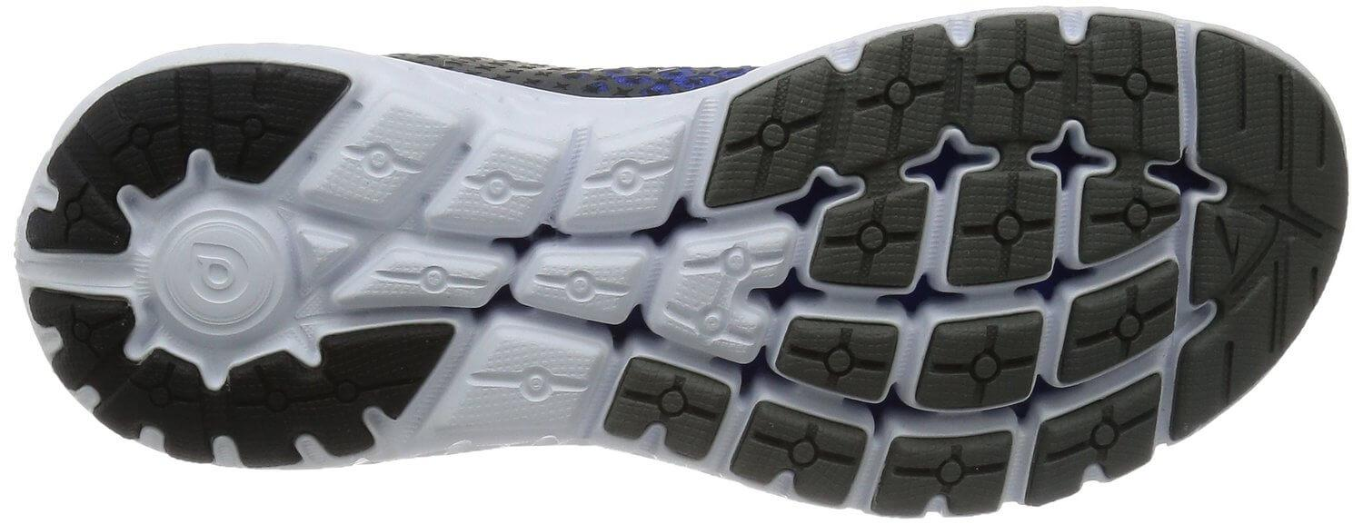 For the Brooks Pureflow 5's outsole, softer rubber is used for the forefoot.