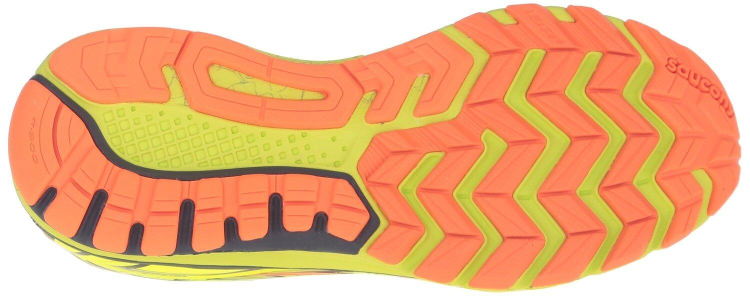 the outsole of the Saucony Guide 9 is flexible and features a good amount of traction