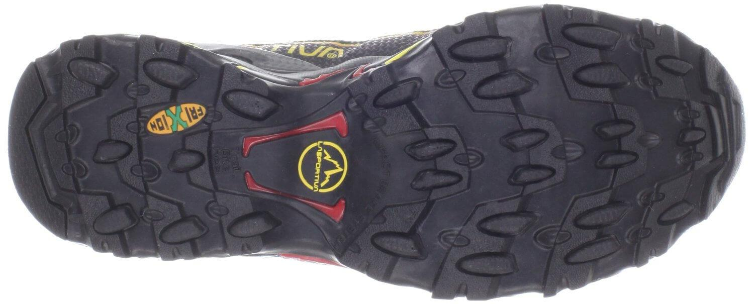 the La Sportiva Ultra Raptor has Frixion Green oval shaped lugs that stick like glue to most surfaces