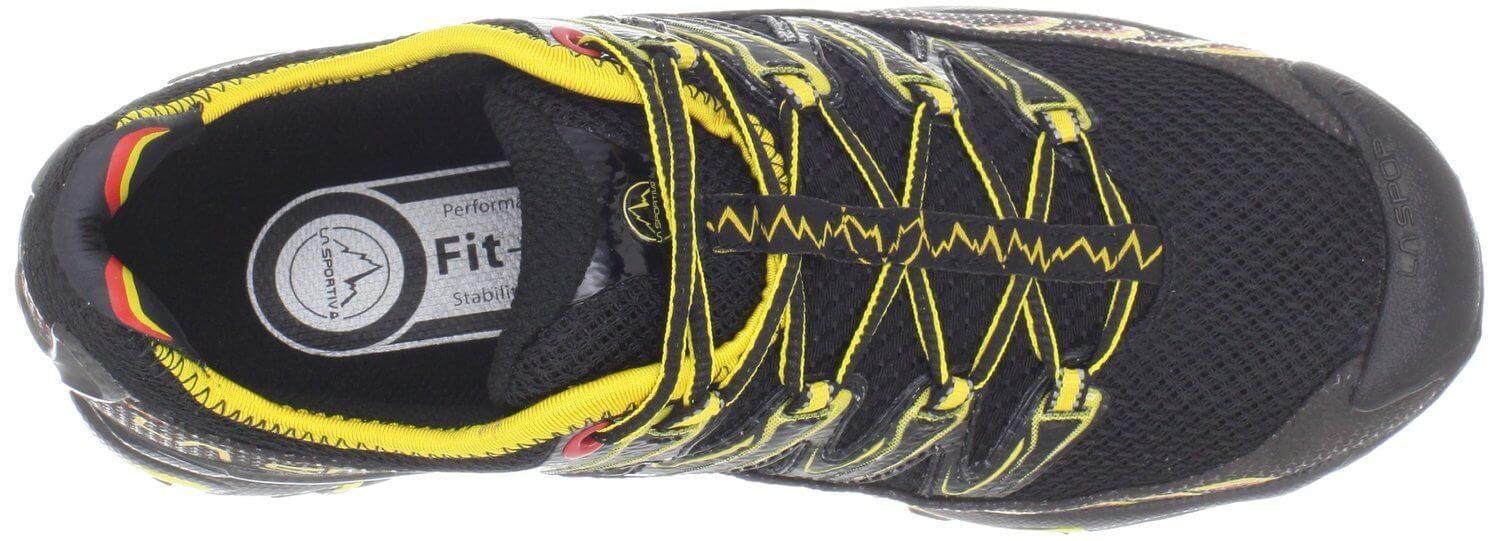 the lacing system of the La Sportiva Ultra Raptor provides a secure fit and support