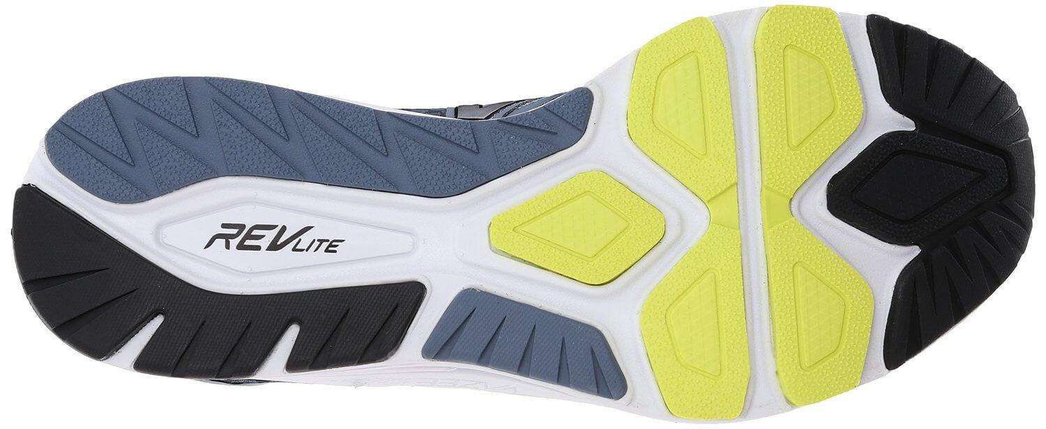 the outsole of the New Balance Vazee Pace has numerous flex grooves for superior flexibility