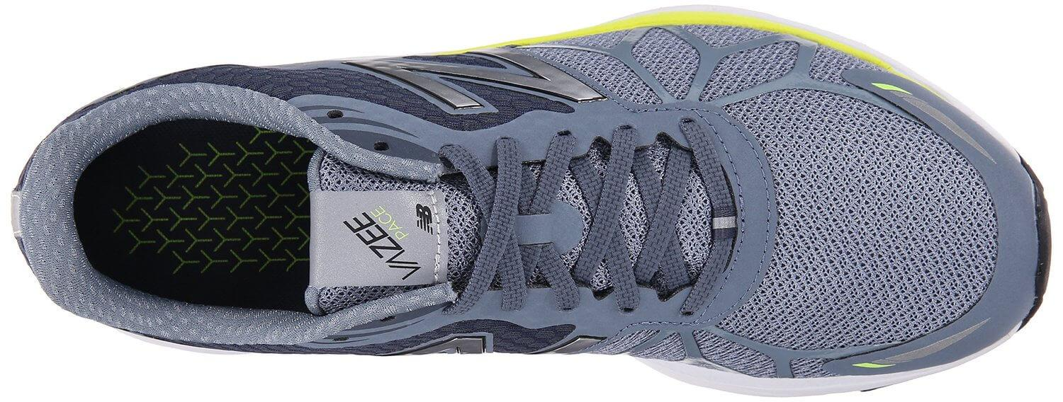 the New Balance Vazee Pace features a breathable upper with a roomy toe box