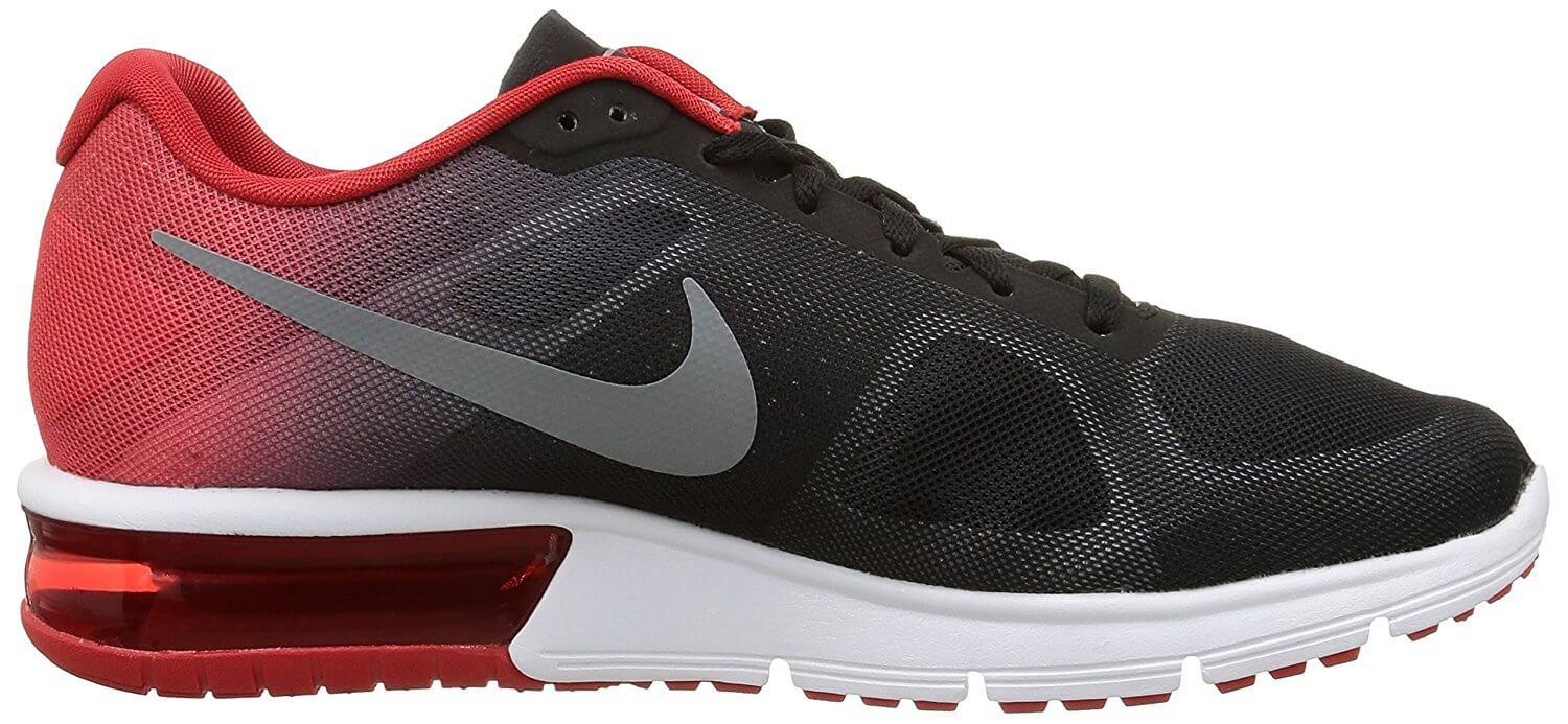 The Max Air unit in the rear of the Nike Air Max Sequent's midsole offers lightweight cushioning.