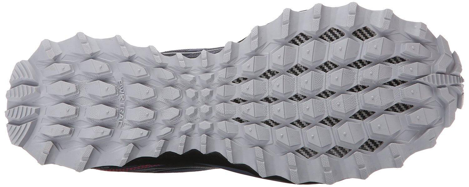the outsole of the Saucony Peregrine 6 features multi-directional lugs for superior traction