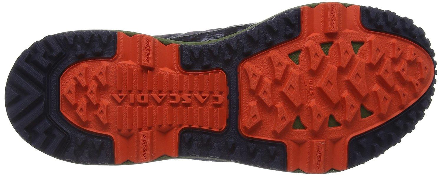 the outsole of the Brooks Cascadia 11 is covered with multiple pods that help cushion and provide traction