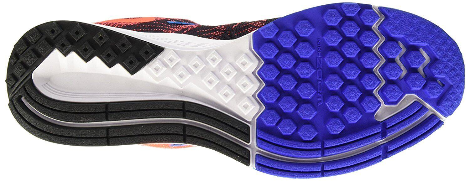 The outsole of the Nike Air Zoom Elite 8 is thin but offers decent traction.