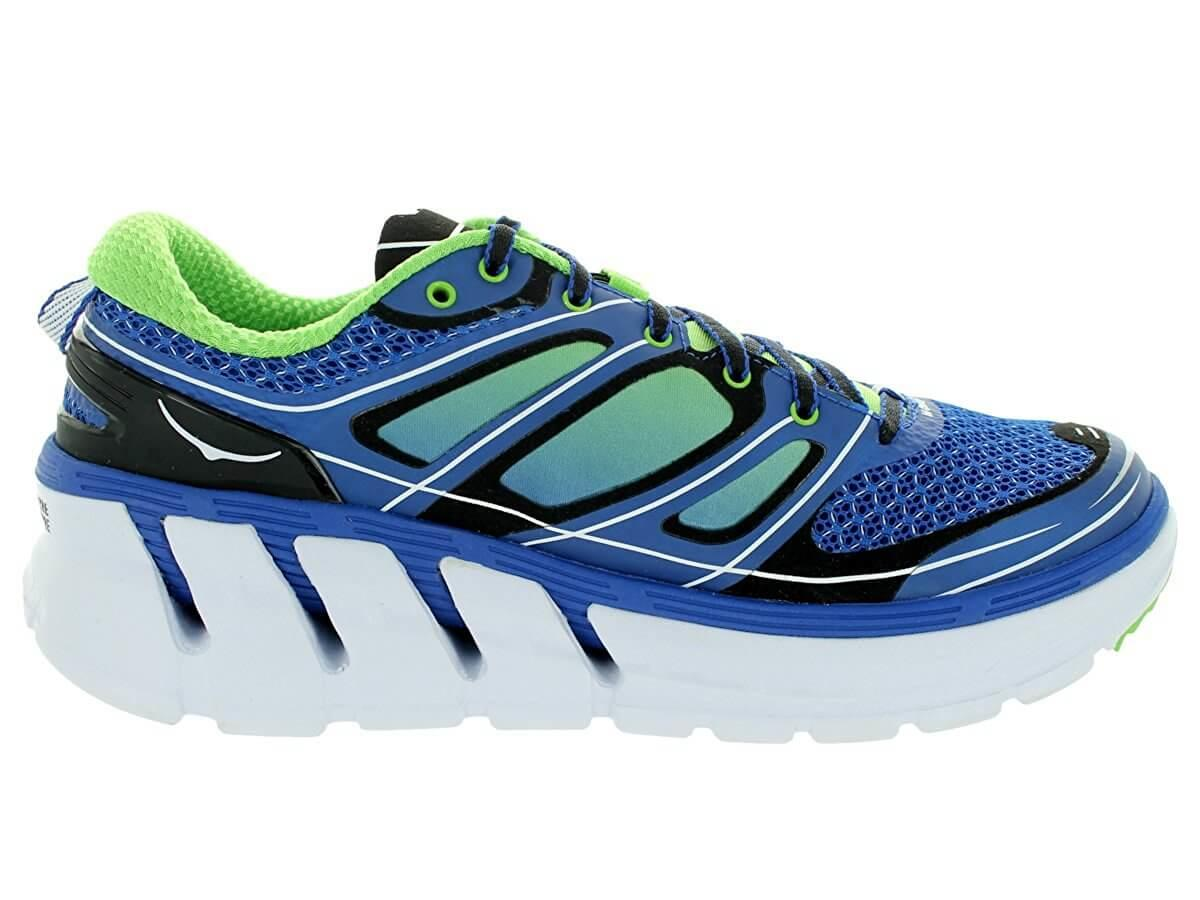 the thick soles of the Hoka One One Conquest 2 provide great cushioning and ground protection