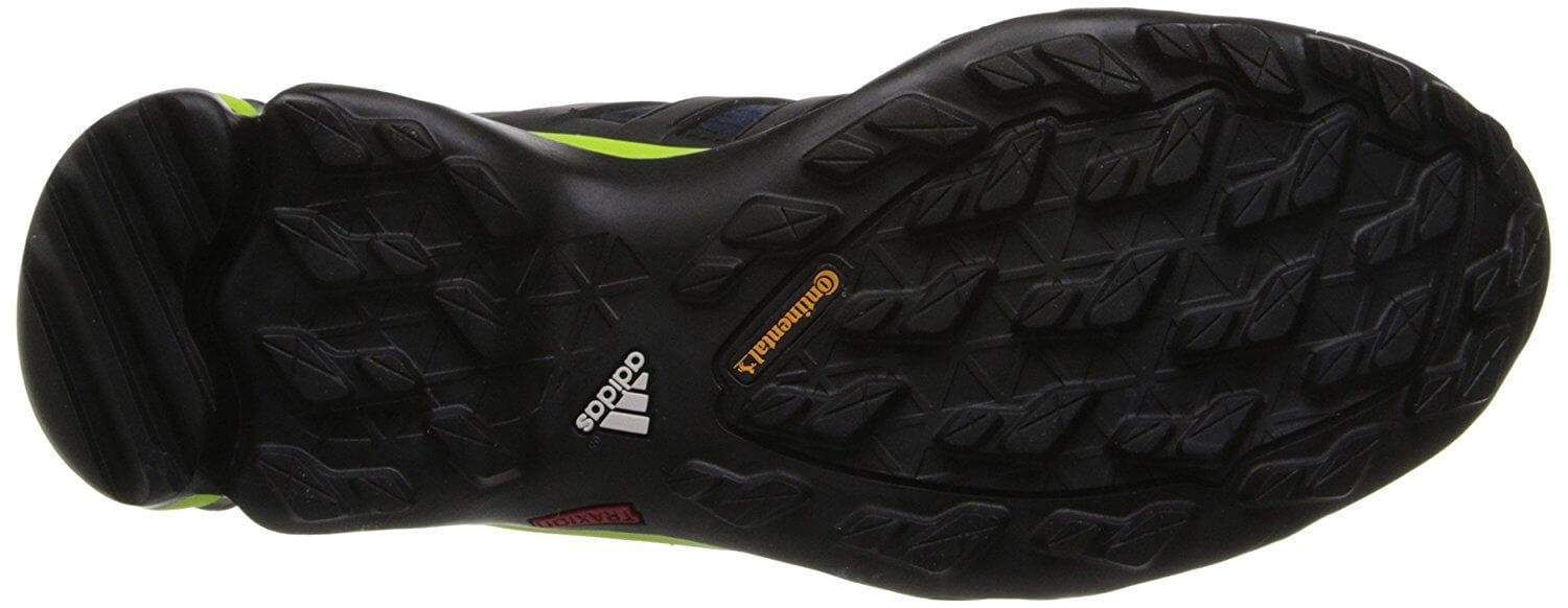 Traxion rubber on the Adidas Terrex Fast R GTX ensures a solid grip on rough terrain.