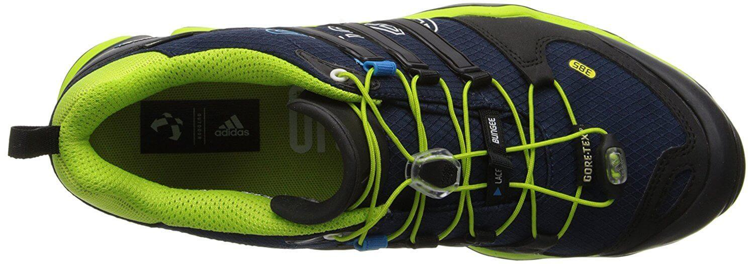 The upper portion of the Adidas Terrex Fast R GTX is made of waterproof material.
