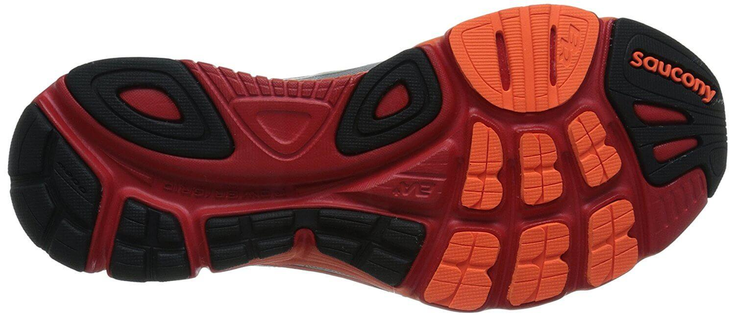 A combination of XT 900 and soft blown rubber is used for the Saucony Mirage 5 outsole.