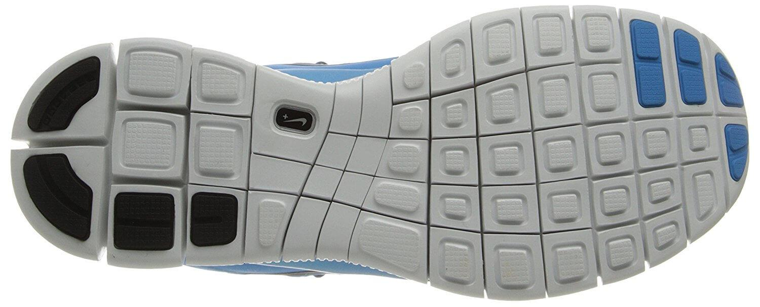 The Nike Free 5.0+ uses durable BRS 1000 technology for the heel of its outsole.