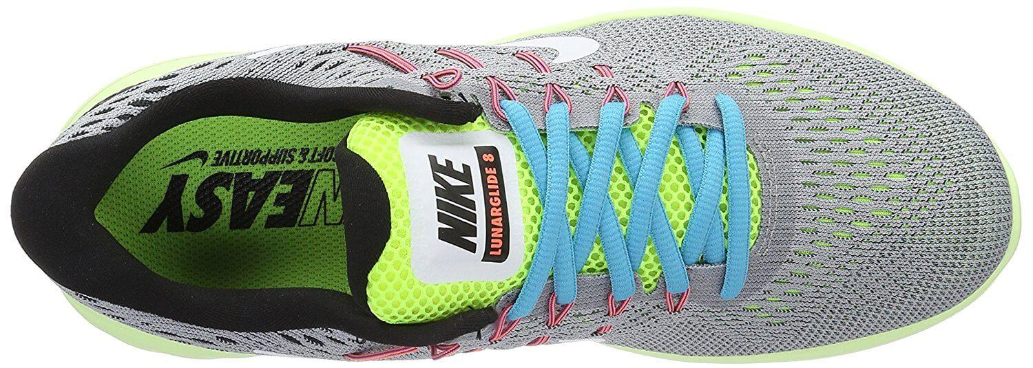 The upper portion of the Nike LunarGlide 8 is made from breathable FlyKnit material.