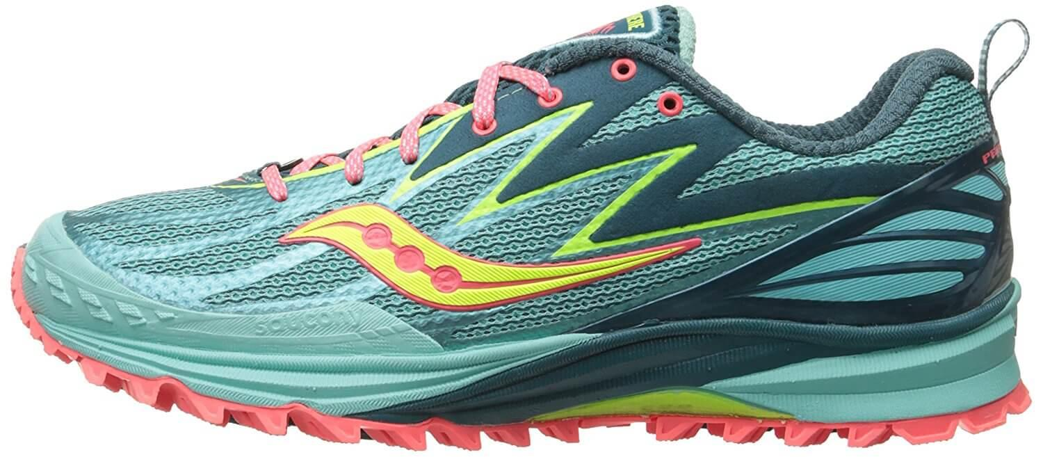 The initial appearance of the Saucony Peregrine 5 is that of a low-profile road racer.