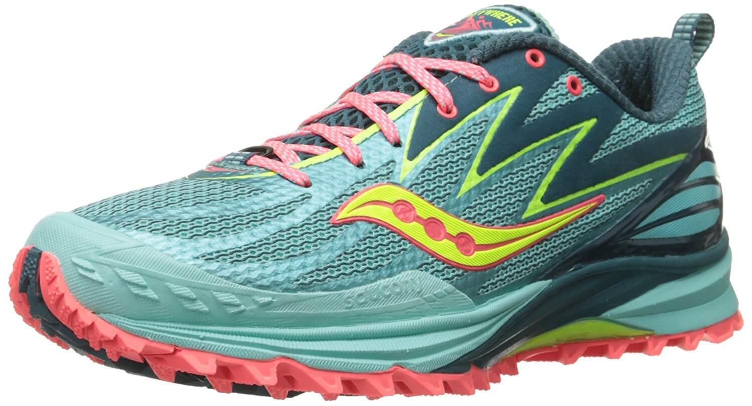 A lightweight and bendable mesh material covers the Saucony Peregrine 5's upper.