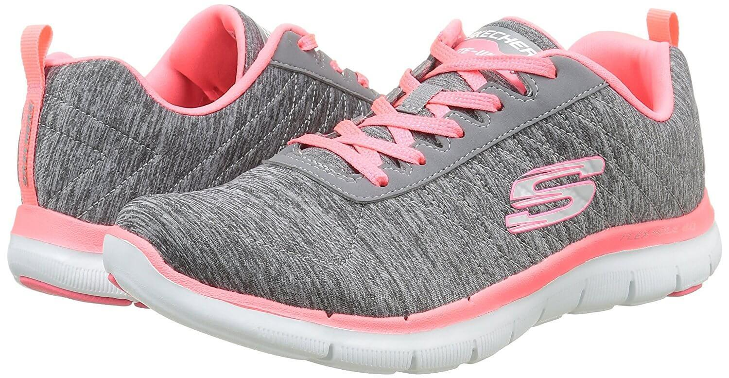 Bright colors accent the Skechers Flex Appeal.