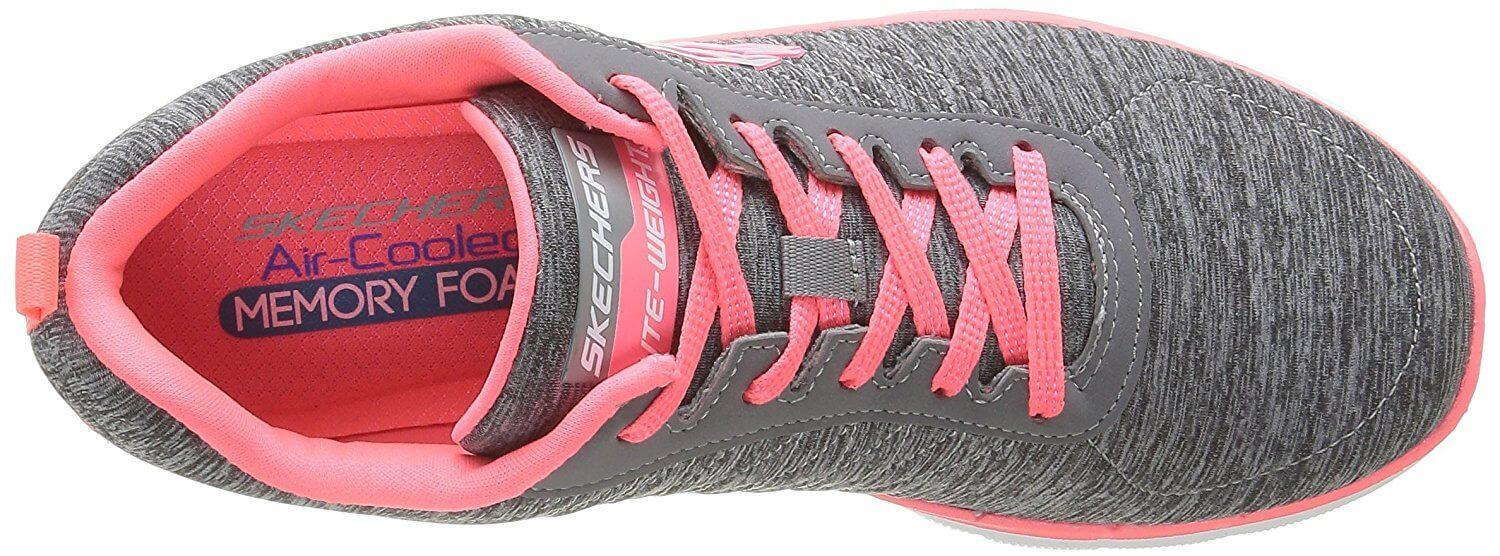 The Skechers Flex Appeal features a breathable upper with a secure lacing system
