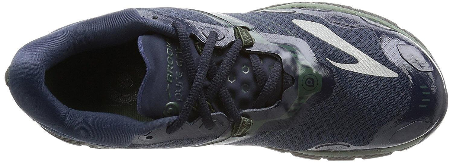 A top view of the Brooks PureGrit 5 running shoe