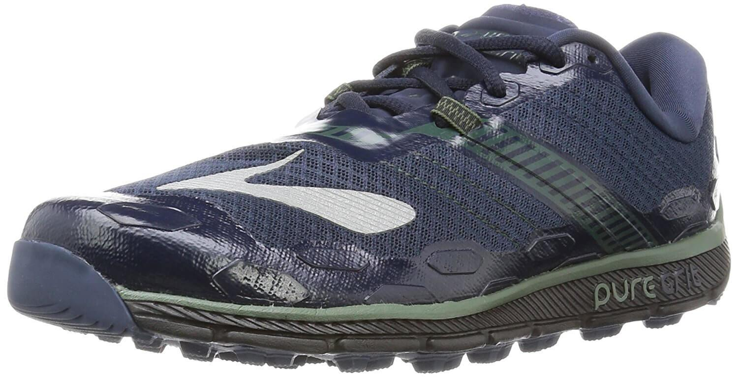A three quarter view of the Brooks PureGrit 5 running shoe
