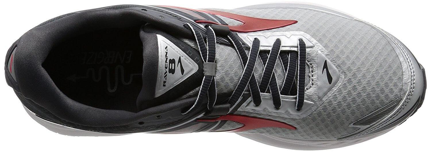 A top view of the Brooks Ravenna 8 running shoe