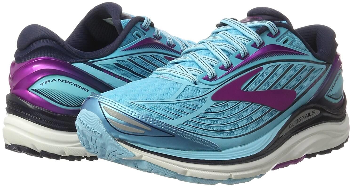 A pair of the Brooks Transcend 4 running shoe
