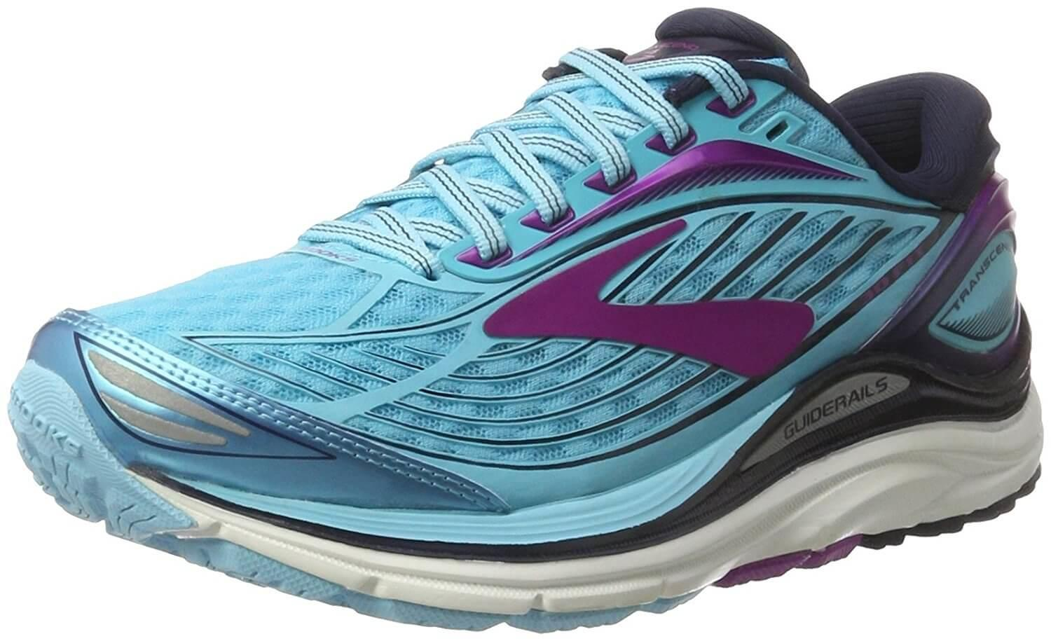 A three quarter view of the Brooks Transcend 4 running shoe