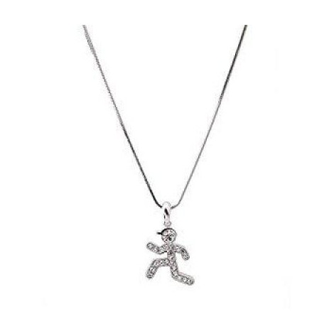Crystal Runner Figure Charm Necklace