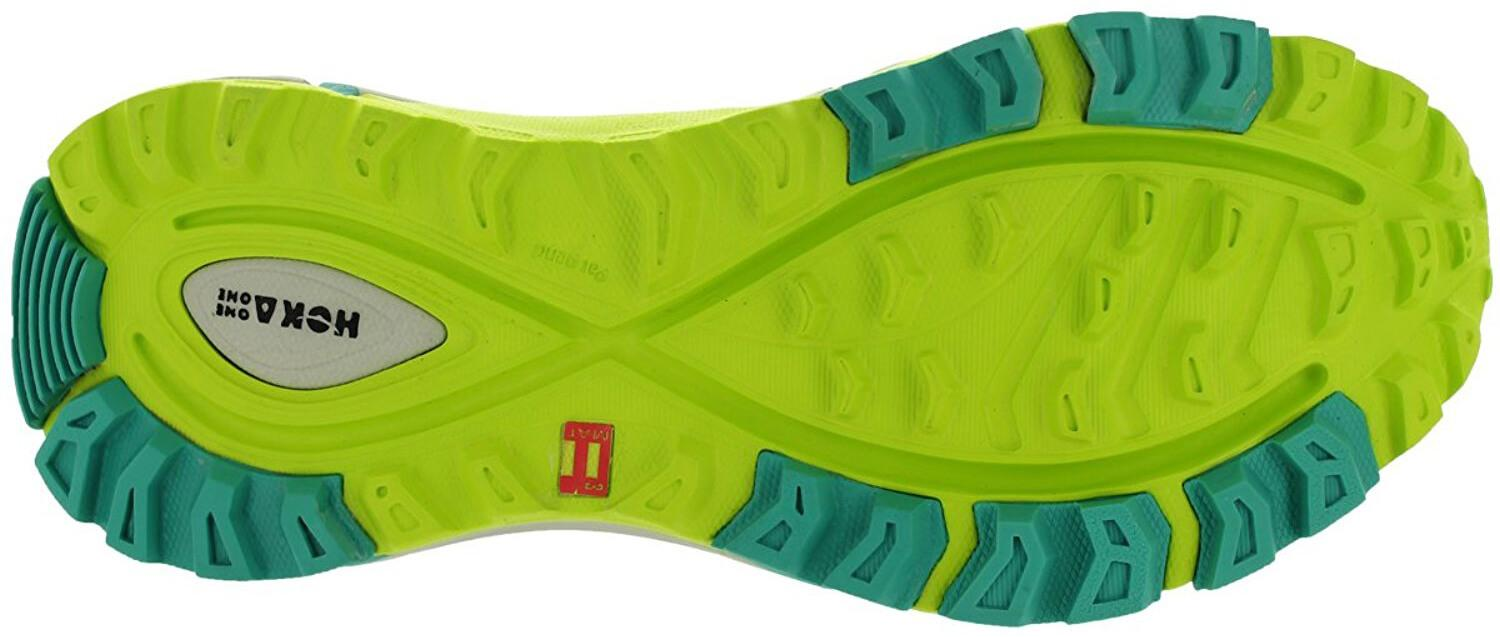 A bottom view of the Hoka One One Mafate Speed yellow