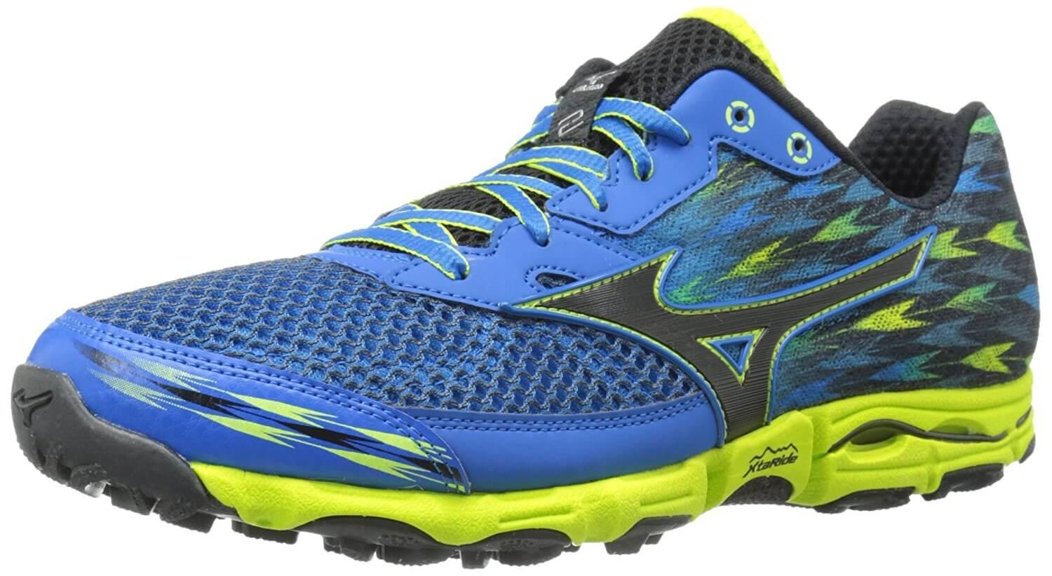 A three quarter perspective of the Mizuno Wave Hayate 2 trail running shoe