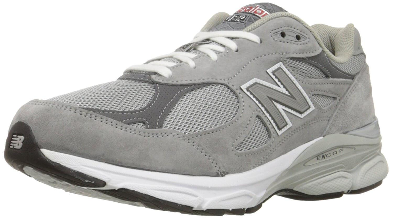 A three quarter perspective of the New Balance 990v3 running shoe