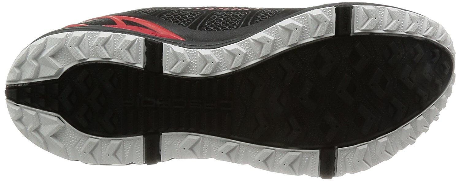 A bottom view of the Brooks Cascadia 9 running shoe