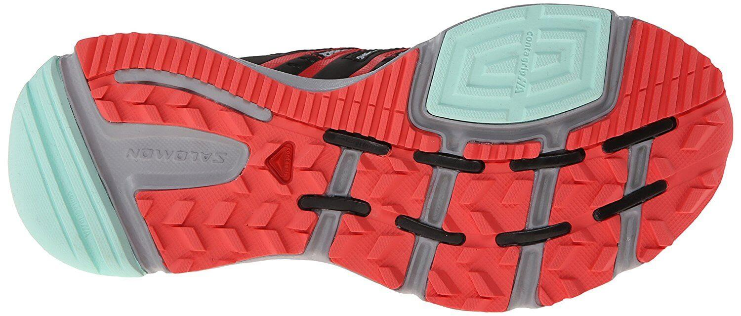 A bottom view of the Salomon XR Mission trail running shoe