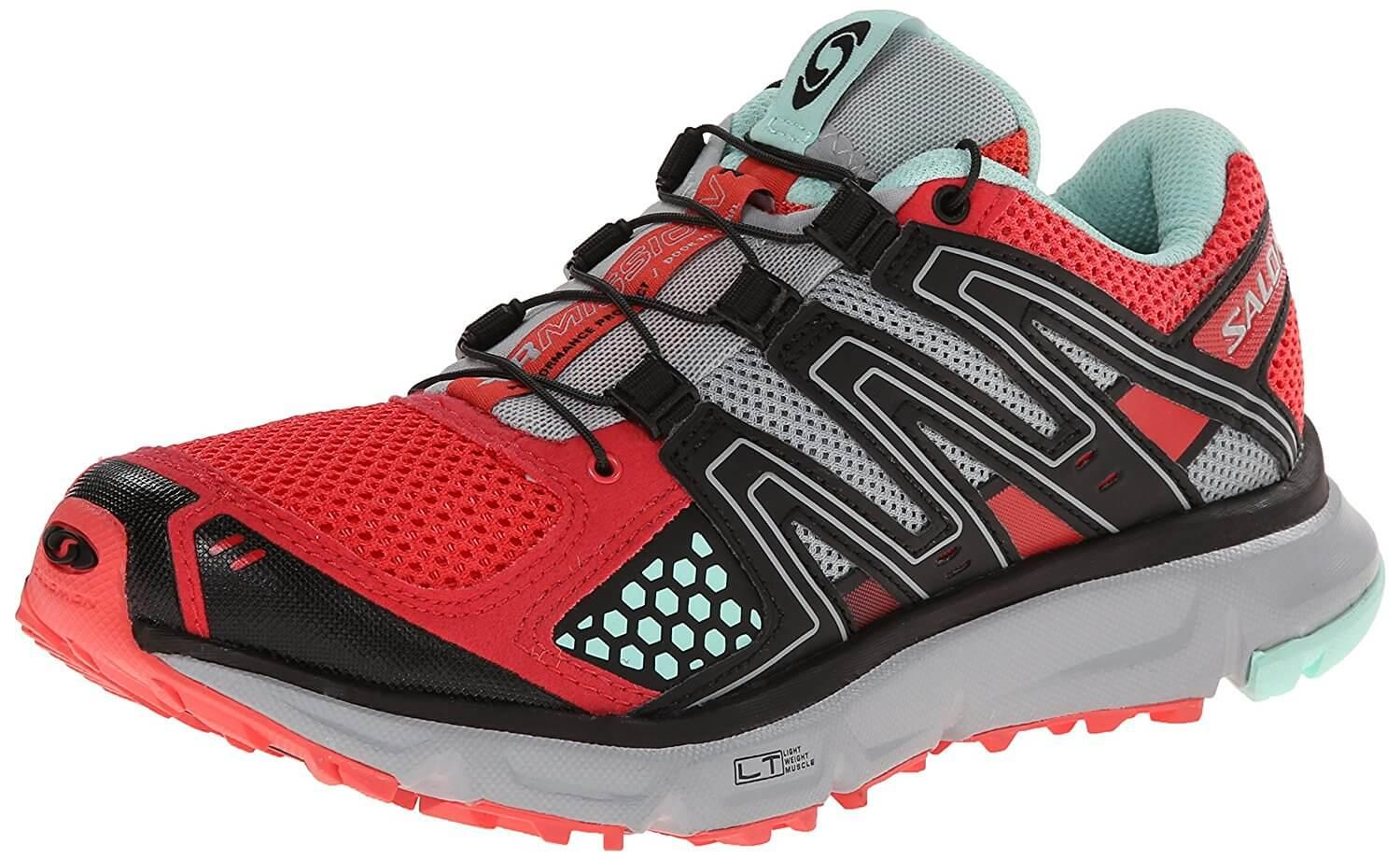 A three quarter view of the Salomon XR Mission trail running shoe