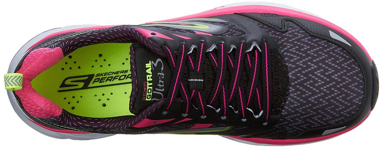 The Skechers GOTrail Ultra 3 features a perforated insole as part of its impressive drainage system.