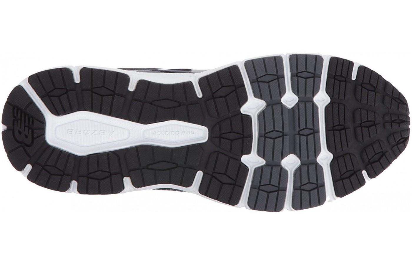 The rubber outsole provides decent traction on roads and light trails