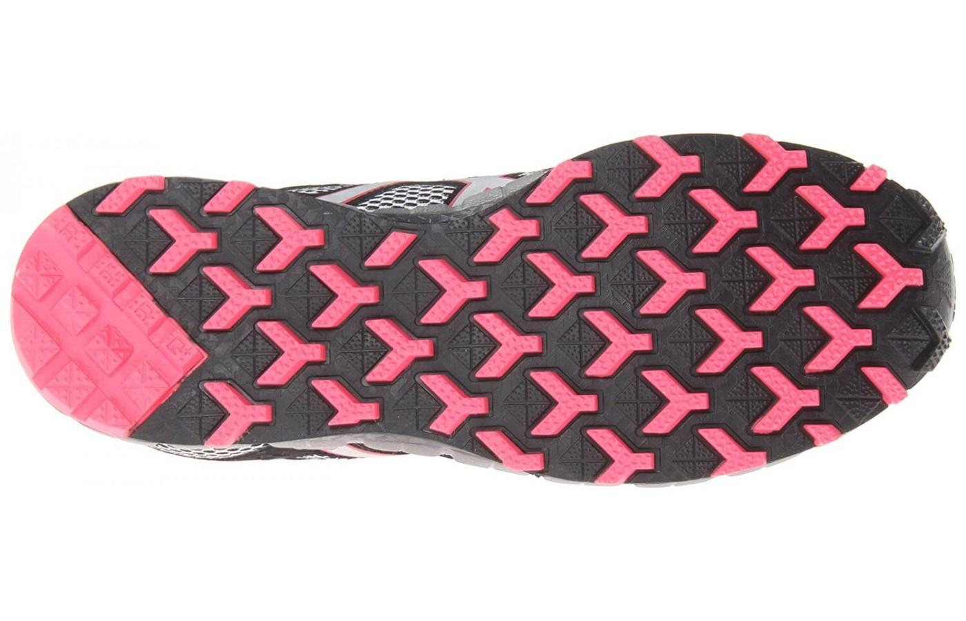 the Asics Gel FujiTrainer 3 has reverse geometric lugs for traction on hills and trails