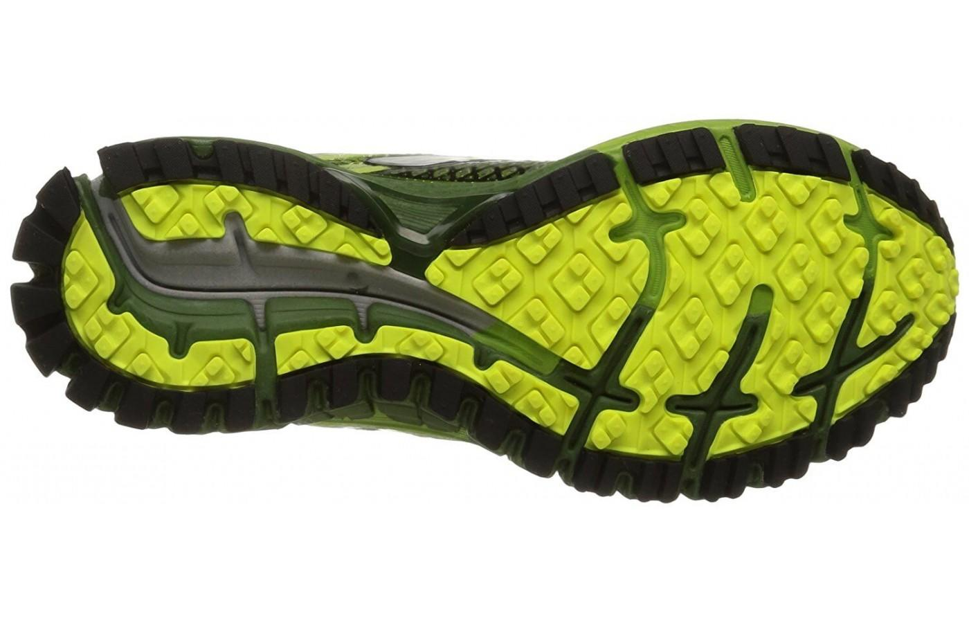 the Brooks Adrenaline ASR 12 has aggressive lugs for traction on the toughest of trails