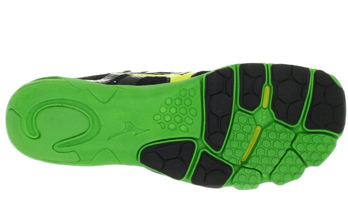 The outsole on the Mizuno Wave Evo Levitas is thin yet durable