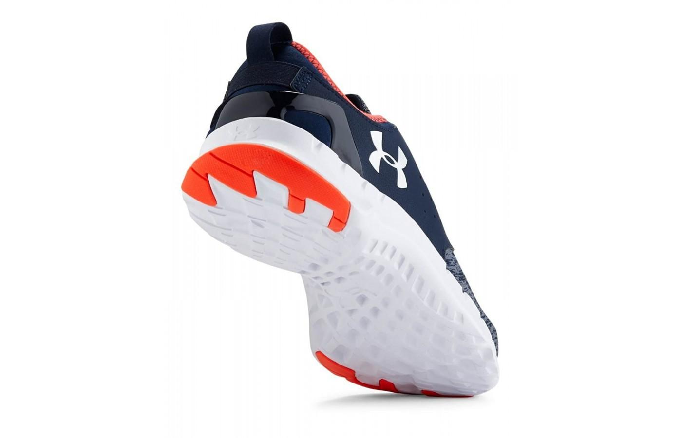 the outsole of the Under Armour Flow Twist features traction at high-abrasion areas to minimize wear and tear