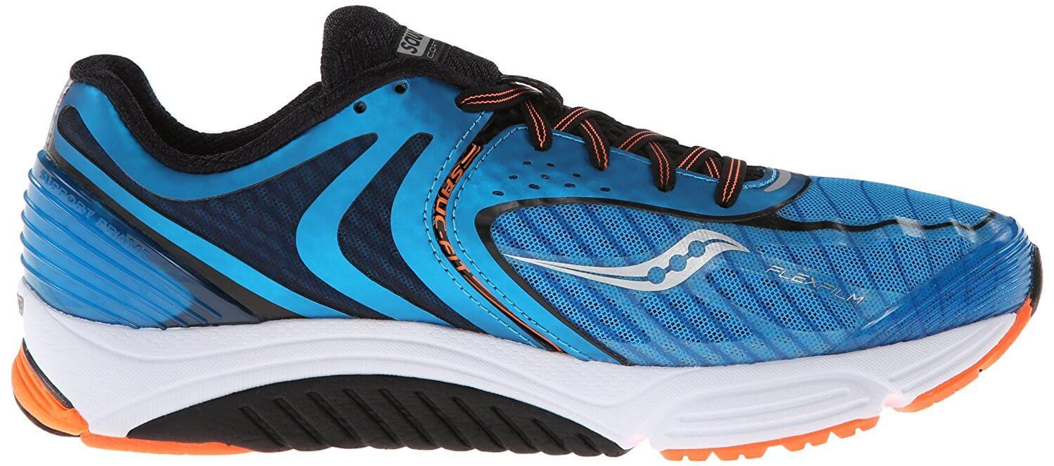 A cushioned midsole in the Saucony Cortana 3 helps runners transition to a more minimal running shoe