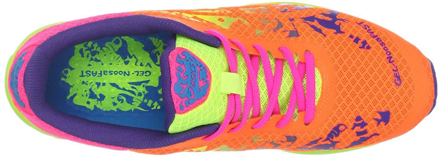 ASICS Gel Noosafast secure lacing system and breathable, draining upper