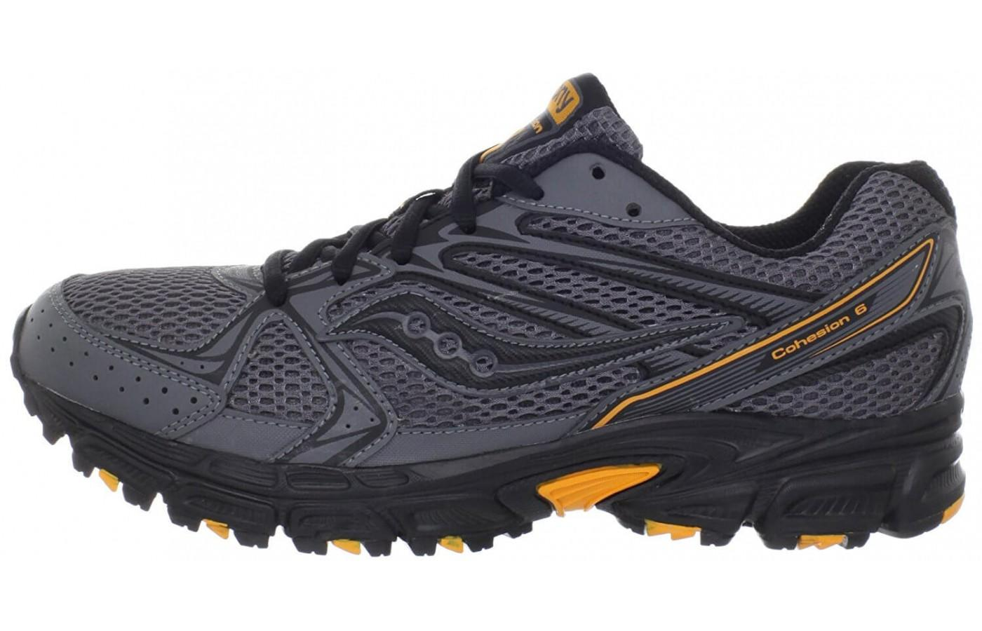 The classic black, gray and orange give this a classic trail shoe look.
